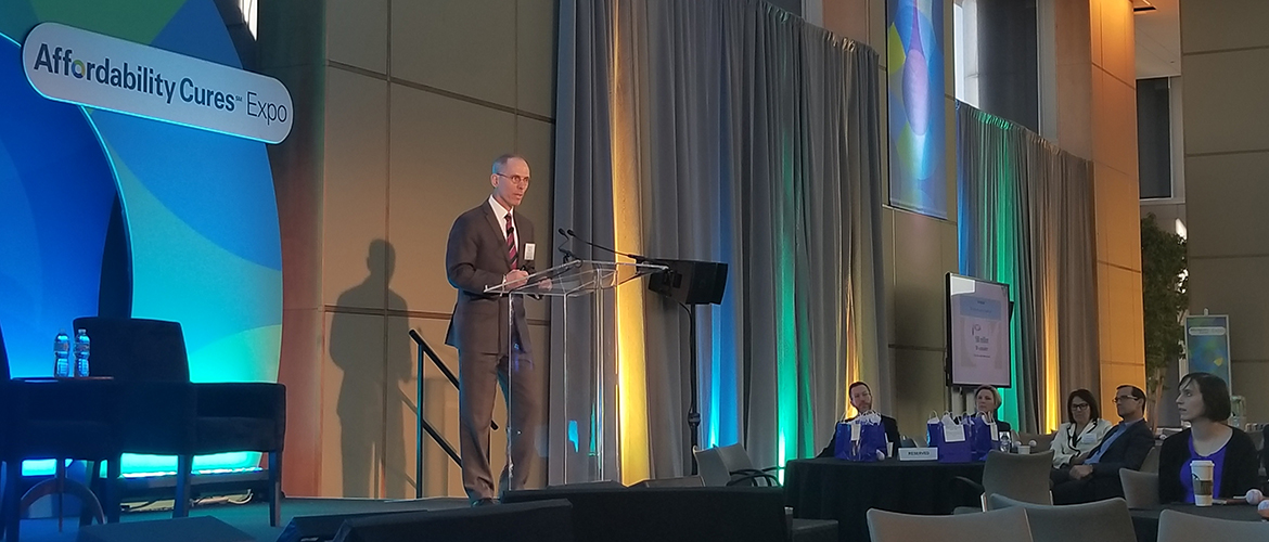 Dr. Michael Barr, the executive vice president of the quality measurement and research group at the National Committee for Quality Assurance, addresses the Quality Outcomes Summit.