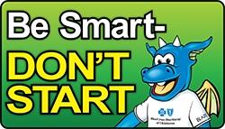 Logotipo de Be Smart Don't Start e imagen de Blue Dragon